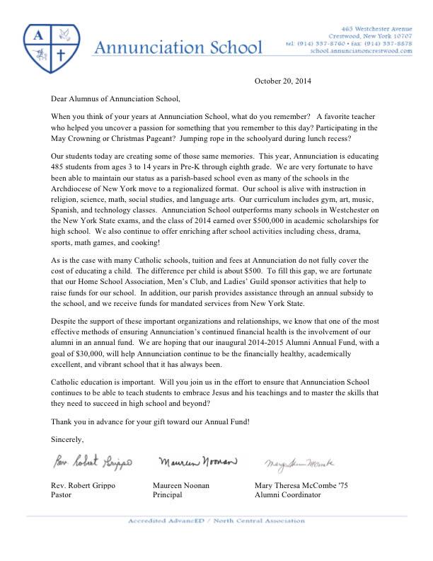 Alumni Annual Fund The Annunciation School